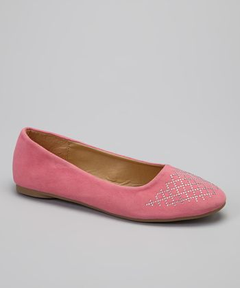 Pink Metallic Stud Lattice Flat