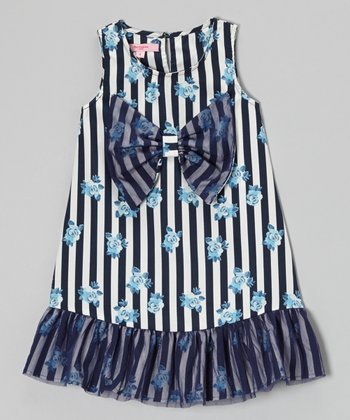 Navy Stripe Floral Bow Shift Dress - Toddler & Girls