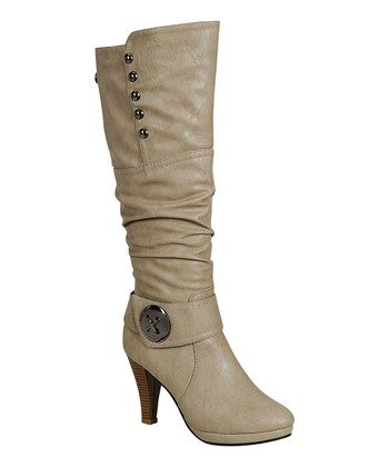 Light Gray Button Sandra Boot