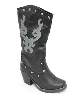 Black New Country Studded Boot