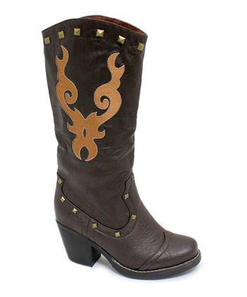 Dark Brown New Country Studded Boot