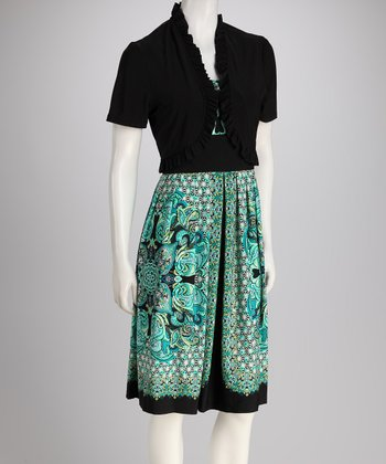 Black & Turquoise Geometric Dress & Shrug