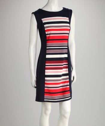 Navy & Ivory Stripe Sheath Dress
