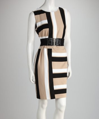 Black & Ivory Stripe Belted Dress