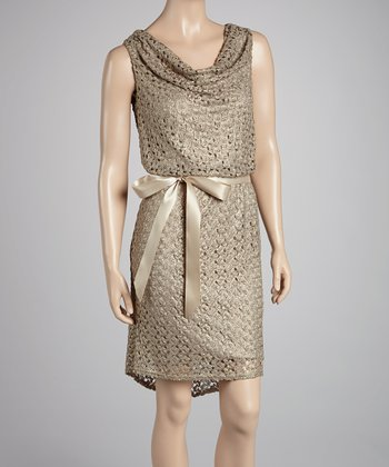 Gold Crocheted Sash Dress