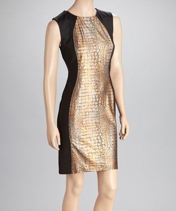 Black & Copper Sleeveless Dress