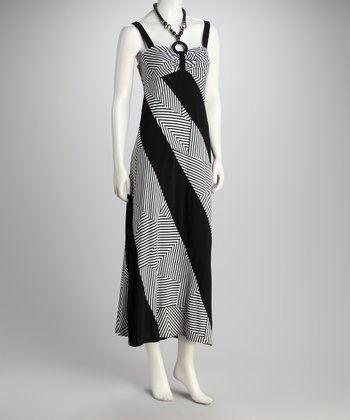 Black & White Diagonal Stripe Halter Maxi Dress