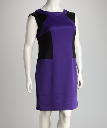 Purple & Black Color Block Plus-Size Sheath Dress