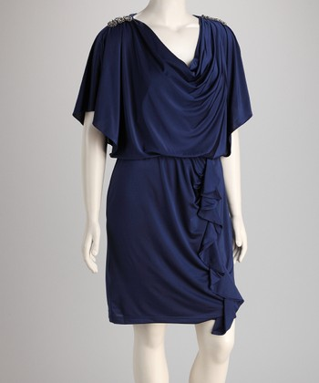Navy Drape Ruffle Blouson Dress - Plus