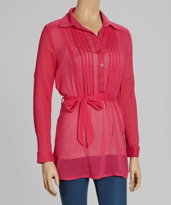 Fuchsia Pleated Tie-Waist Sheer Top