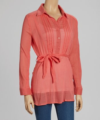 Coral Pleated Tie-Waist Sheer Top