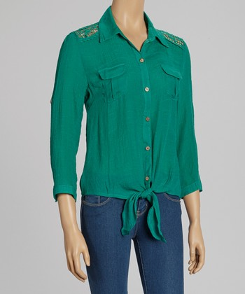 Green Crocheted Tie-Waist Button-Up