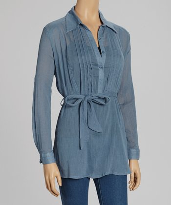 Blue Pleated Tie-Waist Sheer Top
