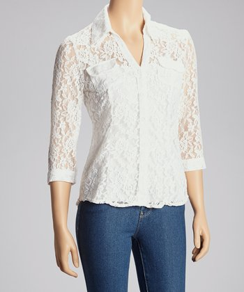 Ivory Lace Button-Up