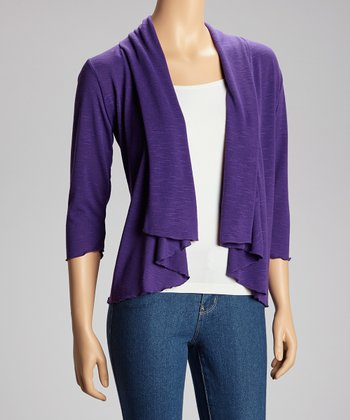 Plum Three-Quarter Sleeve Open Cardigan