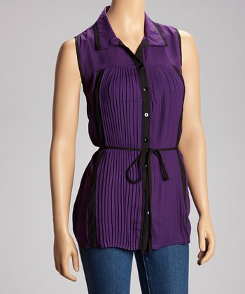 Plum Pleated Sleeveless Top