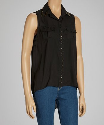 Black Studded Sleeveless Top