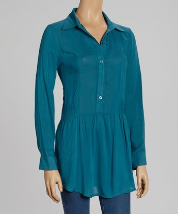 Teal Side-Pleat Top