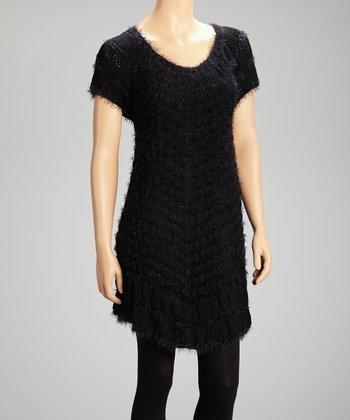 Black Knit Scoop Neck Tunic Sweater