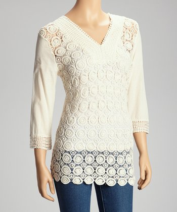 Ivory Circles Crocheted V-Neck Top