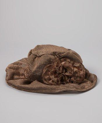 Brown Ruffle Linen-Blend Bucket Hat