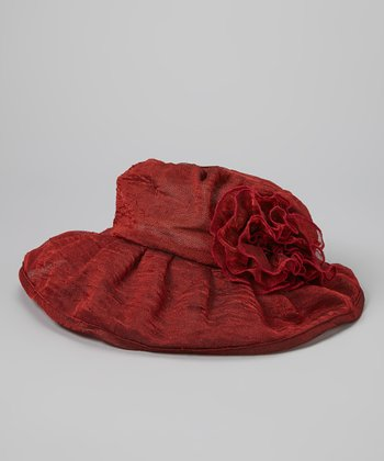 Burgundy Ruffle Linen-Blend Bucket Hat