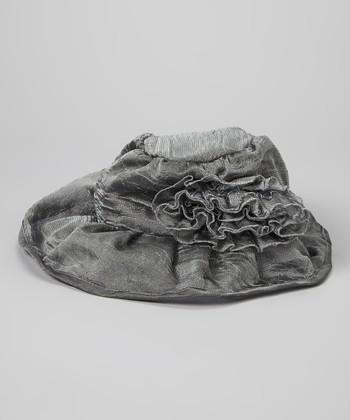 Gray Ruffle Linen-Blend Bucket Hat