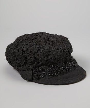 Black Floral Pearl Linen-Blend Newsboy Cap