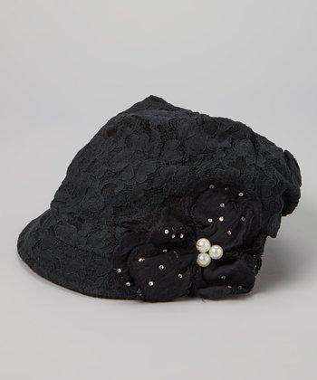 Black Lace-Overlay Floral Linen-Blend Hat