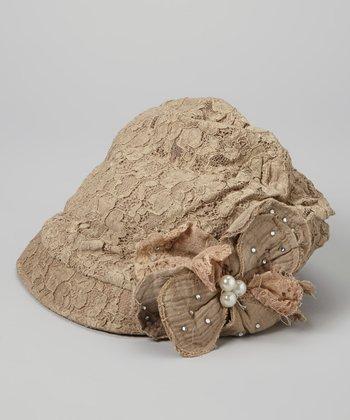Olive Lace-Overlay Floral Linen-Blend Hat