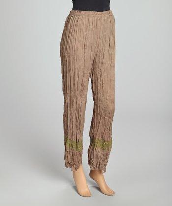 Tan & Lime Lace Panel Crinkle Linen-Blend Pants