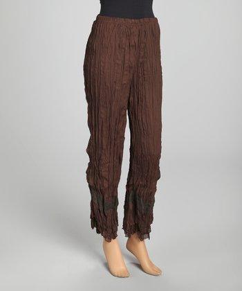 Brown Lace Panel Crinkle Linen-Blend Pants