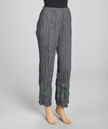 Gray Lace Panel Crinkle Linen-Blend Pants