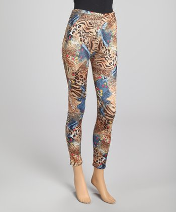 Tan & Blue Tiger Silk-Blend Pants