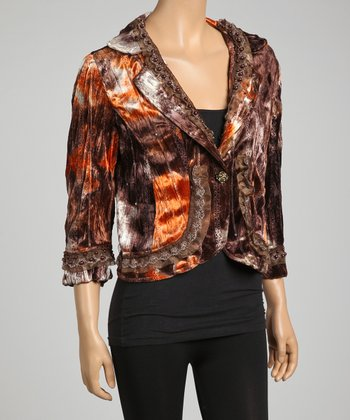 Brown & Orange Lace Trim Silk-Blend Blazer