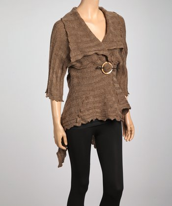 Tan Ribbed Cashmere-Wool Blend Shrug