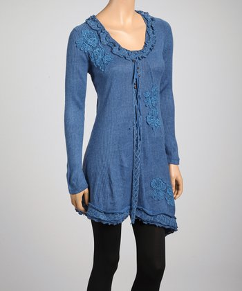 Midnight Blue Lace Applique Linen-Blend Tunic
