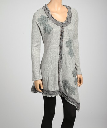 Gray Lace Appliqué Linen-Blend Tunic