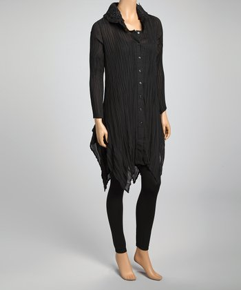 Black Plisse Pleat Silk-Blend Button-Up Tunic