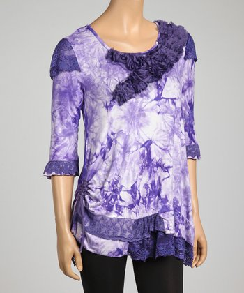 Purple Tie-Dye Confetti Silk-Blend Top