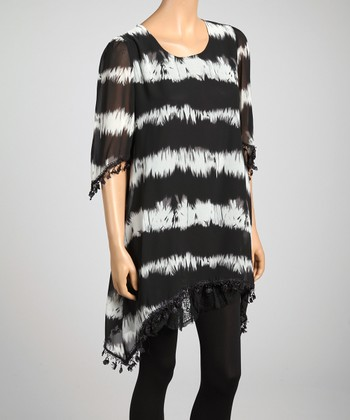 Black & White Stripe Tie-Dye Lace Trim Silk-Blend Top