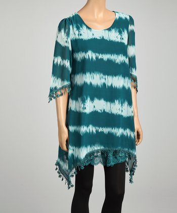 Turquoise & White Stripe Tie-Dye Lace Trim Silk-Blend Top