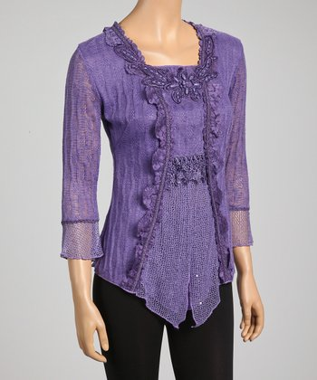 Dark Purple Lace Embroidered Linen-Blend Top
