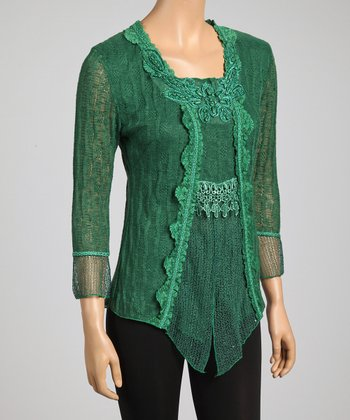 Emerald Lace Embroidered Linen-Blend Top