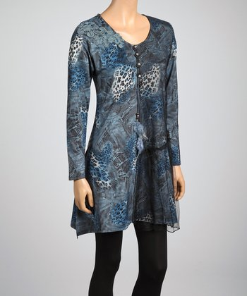 Black & Blue Lace Leopard Linen-Blend Tunic