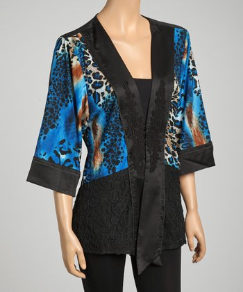 Black & Blue Lace Embroidered Silk-Blend Top