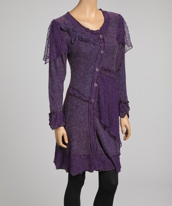 Purple Asymmetrical Button Linen-Blend Dress - Women