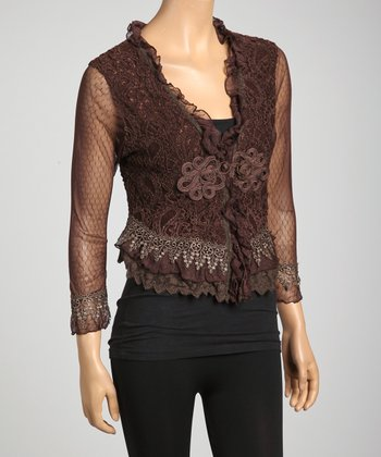 Taupe Sheer Lace Embroidered Silk-Blend Bolero