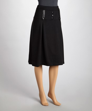 Black Button Pencil Skirt