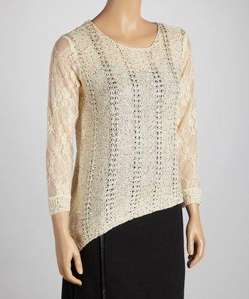 Nancy Yang Beige Sparkle Lace Sleeve Sweater